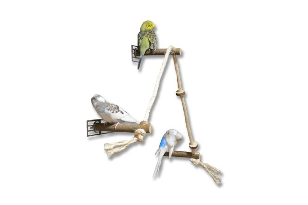 Sitzseil mit Natur Sitzstangen für Wellensittiche, Nymphensittiche & Co.