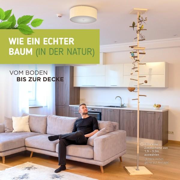 Zimmerhoher XXL Kletterbaum HiFly Medio - artgerechter Vogelspielplatz