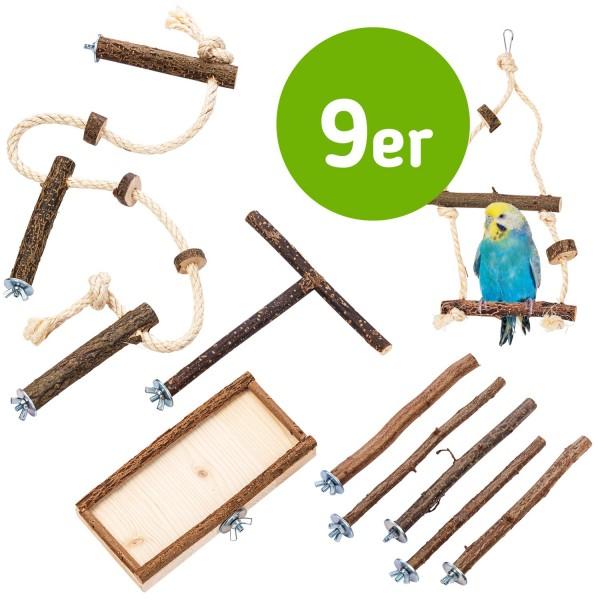 9 teilige Basis Käfigausstattung an Vogelzubehör und Vogelspielzeug