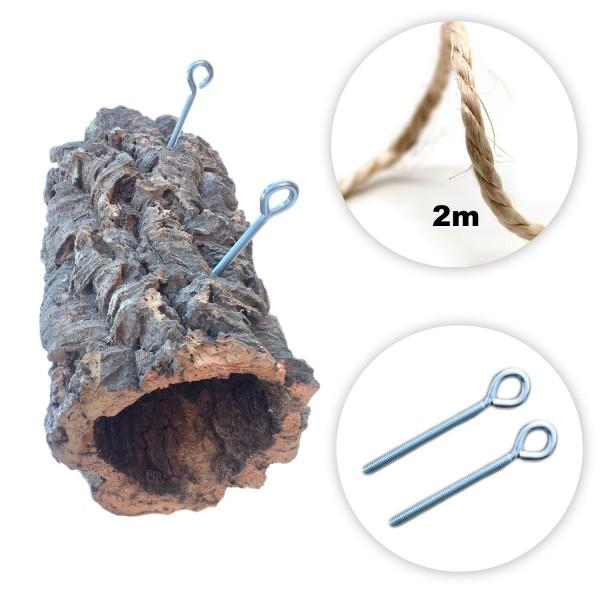 Korkröhre 30cm, d 16cm mit Aufhängehaken und 2m Sisalseil